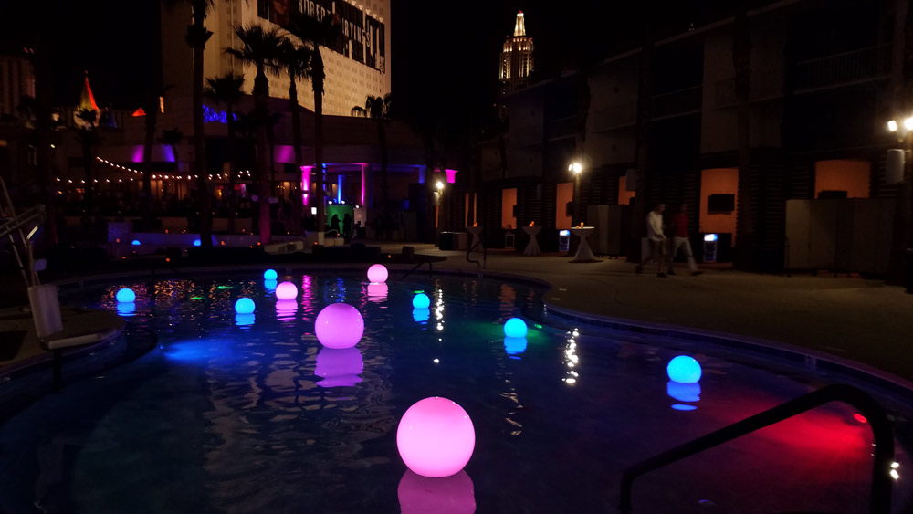 LED Pool Orbs at Tropicana Pool